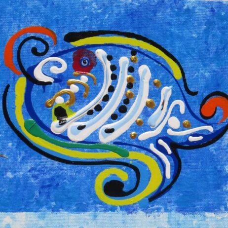 ציור דג שמח