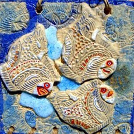 תמונת קרמיקה שלישיית דגים